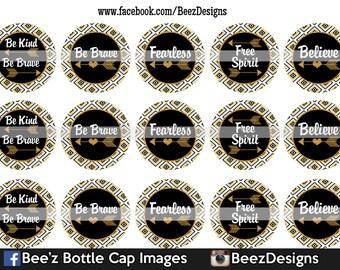 33% off SALE- INSTANT DOWNLOAD- Be brave- 1inch Bottlecap Images- 4x6 Digital Sheet