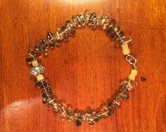 Smoky Quartz and Moonstone Ankle Bracelet