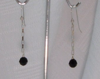 sterling silver and black swarovski crystal earrings