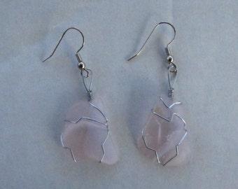 Item# E-0007 Pink Art Glass Earrings