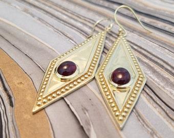 Storm of Garnet Earrings in 14k Plated 925 Sterling Silver, Cosplay Jewelry