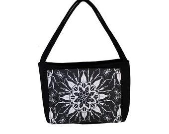 Novelty Designer Insect Purse - Black and White Beetle Handbag - Fabric - READY TO SHIP