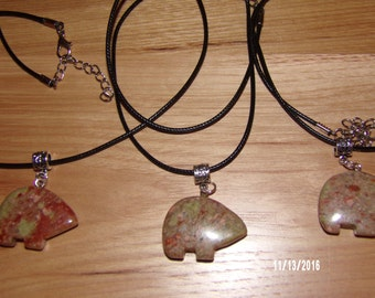 N301 Leather Corded Necklace with a Zuni Brown Stone Bear