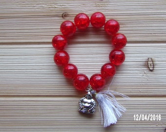N1202 Large Red Cracked Crystal Braclet With Buddha Charm