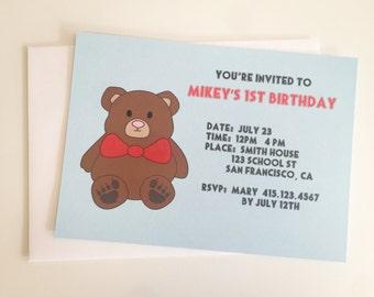Teddy Bear Snuggle Invite Invitation Baby Shower Birthday