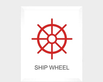 SALE - Nautical Print - Ship Wheel - Digital Print - Nursery Decor - Baby Print - Instant Download - Nautical Decor - Nursery - Baby Print
