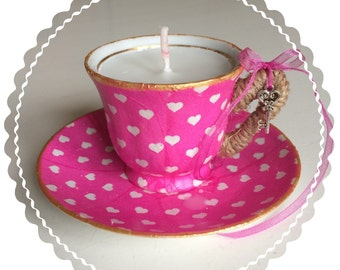 Candle in sweet little cup and saucer. 100% Handmade!