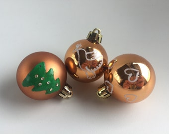 Copper christmas baubles - Traditional