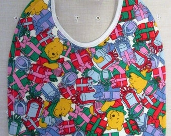Winnie the Pooh Christmas Baby Bib 100% Cotton Quilted/Absorbent