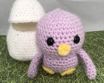 Easter Chick, Easter Basket Gift, Easter Gift, Amigurumi Chick, Easter Egg, Plush Chick, Easter Basket