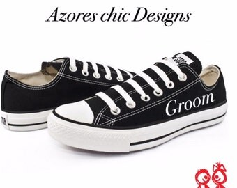 Custom Converse, Groom black converse,Wedding converse, Personalized Converse, Husband Low Top Converse, Men's Wedding Shoes Converse Custom