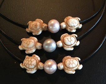 Childrens Single Pearl Turtle Pendant on Leather Cord Necklace
