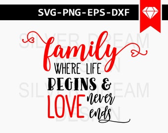 family where life begins and love never ends svg file, wood signs sayings, quotes svg, family svg, family gift, family sign svg, dxf eps png