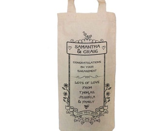 Engagement Congratulations Personalised Natural Cotton Wine Bottle Bag. Change any of the text. By Inspirecreativedesign