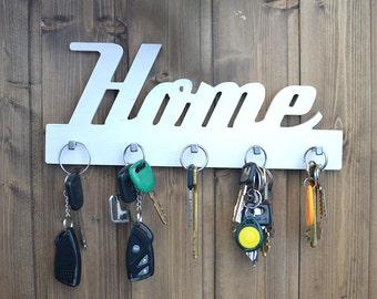Wall Key Holder, White Wood, Leash hanger, Entryway decor, Entryway organizer, Entryway Key Holder, Collar Hooks, Family Key Holder