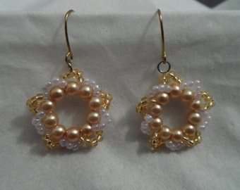 Gold and Palest Lilac Wreath Earrings