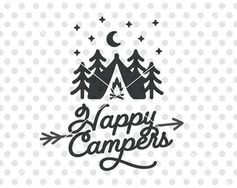 Happy Campers SVG DXF Cutting File, Camper Svg Cutting File, Camping Svg Cut File, Camper Vector, Camper Clip Art, Happy Campers Svg