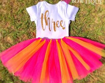 HOT PINK Three Birthday Onesie & Tutu Skirt/ 3rd birthday tutu/ hot pink yellow tutu skirt