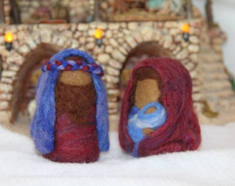 Handcrafted Needle Felted Wool Christmas Doll - Jesus, Mary, Joseph with headband