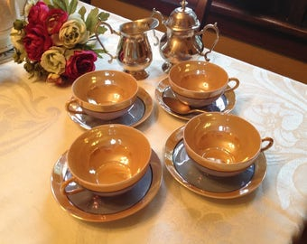 Vintage Peach and Valender  Lusterware Set of 4 Tea Cups and Saucers made in Japan