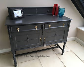 Beautiful Antique Edwardian Pewter Grey Hand Painted Oak English Arts & Crafts Sideboard Buffet 75 miles free delivery