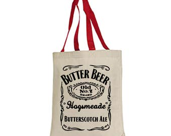 Butter beer harry potter tote bag women's teacher school book fantastic beasts and where to find them Slytherin Gryffindor Hufflepuff wizard