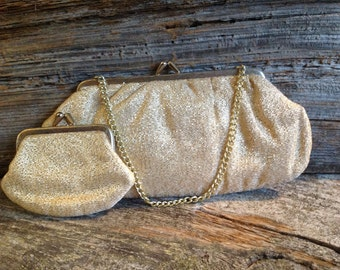 Gold Evening Bag w/ matching coin purse (Rare to find together)