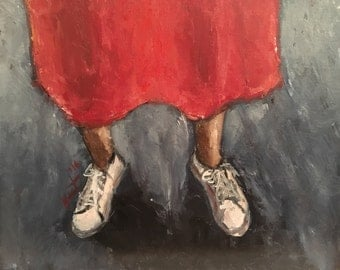 Original Oil Painting of Feet in White Sneakers and Red Dress
