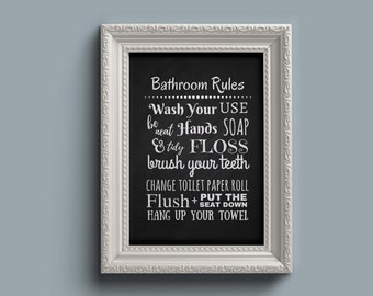 Bathroom Rules bathroom rules | etsy