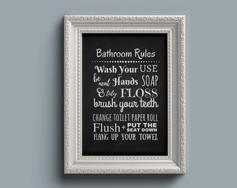 Bathroom Rules Sign Etsy