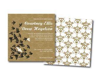 Damask Wedding Invitation Set, Baroque wedding invitation, Birds invitation,Printable Wedding Invitation Suite, Customizable Wedding Invites