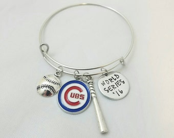 Chicago Cubs World Series 2016 Baseball Bangle Bracelet