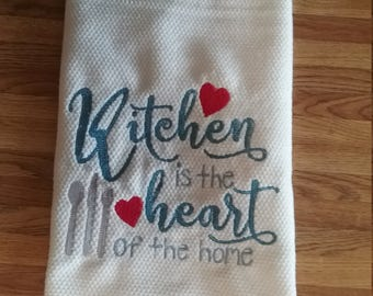 Micro Fiber Embroidered Kitchen Towel    Kitchen is the Heart