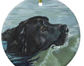 Ceramic Ornament - Labrador Swimming