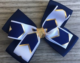Navy Gold and White Bow / Navy and Gold Bow