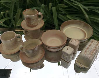 Frankoma Mayan  Aztec  Gold  serving set.