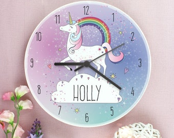 Childrens Personalised Magical Unicorn Wooden Bedroom Clock   Add Girls Name