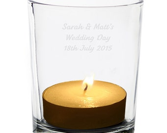 Personalised Votive Tea Light Candle Glass Holder - Wedding, Birthday, Memorial, Mothers Day