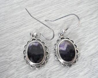 Vintage Blue John silver earrings