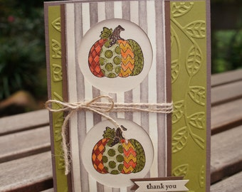 Crazy Patchwork Pumpkin Thank You Card - Thanksgiving Card - Stampin Up Card
