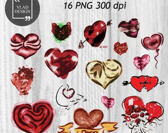 16 Hearts Clipart Love Clipart Digital Hearts Elements Cute Love graphics Valentine's clipart Hearts Fall in love clipart
