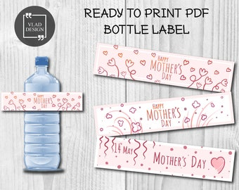 3 Designs Mother's day bottle label DIY Handdrawn sketches Design Water Bottle Labels Mother's Day Water Bottle Labels Ready to print PDF