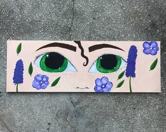 "36""x12"" Eyes Gouache Painting on Canvas"