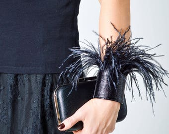 Leather bracelet  ostrich feathers cuff leather cuff