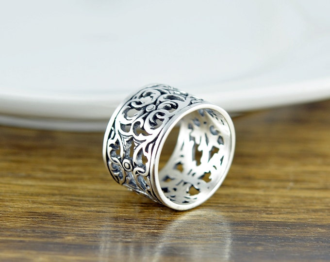 "Sterling Silver ""Guinevere"" Filigree Ring - Cigar Band Ring - Boho Ring - Modern Ring - Womens Rings - Gift For Her - Statement Ring"