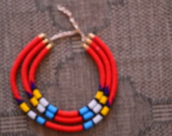 African Maasai Beaded Necklace|3 in 1 Red Necklace| African Jewelry | Tribal Necklace |One size fits all | Gift for Her