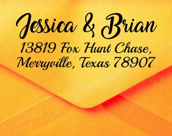 Calligraphy Return Address Stamp,  Family Custom Address Stamp, Personalized Return Stamp, Address Label Stamp, Discount Rubber Stamps Z48