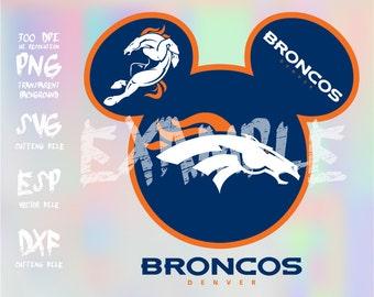 Mickey heads Sport logo football team Denver Broncos ,clipart,SVG,PNG 300dpi ,ESP vector