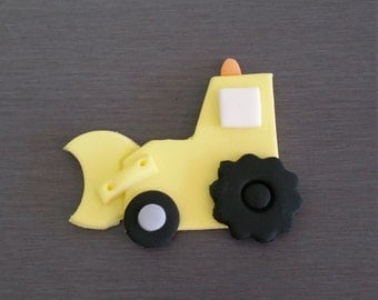 6 x Digger Cupcake Toppers, edible truck toppers, fondant digger decorations, edible cupcake toppers