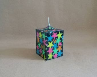Black Cube candle with fluorescent stars